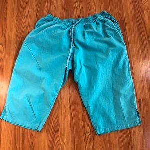 Capris pants 3XL turquoise elastic waistband